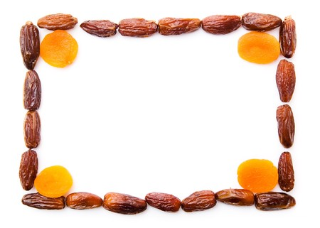 photo frame, dried apricots and dates photo