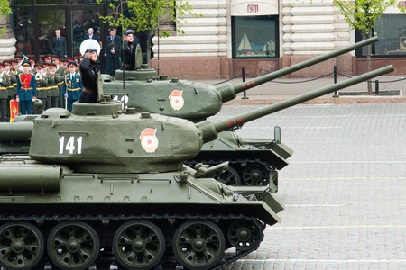 fascism: Tank T34, Dress rehearsal of Military Parade on 65th anniversary of Victory in Great Patriotic War on May 6, 2010 on Red Square in Moscow, Russia Editorial