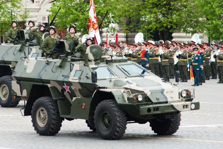fascism: Patrol car. Dress rehearsal of Military Parade on 65th anniversary of Victory in Great Patriotic War on May 6, 2010 on Red Square in Moscow, Russia