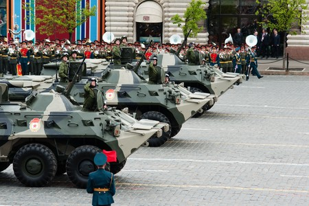 fascism: BTR-80. Dress rehearsal of Military Parade on 65th anniversary of Victory in Great Patriotic War on May 6, 2010 on Red Square in Moscow, Russia