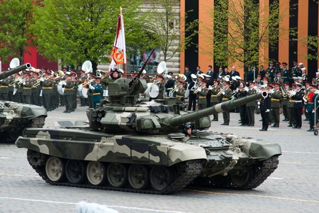 Main battle tank T-90. Dress rehearsal of Military Parade on 65th anniversary of Victory in Great Patriotic War on May 6, 2010 on Red Square in Moscow, Russia