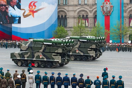 fascism: BUK-M2 missile system. Dress rehearsal of Military Parade on 65th anniversary of Victory in Great Patriotic War on May 6, 2010 on Red Square in Moscow, Russia Editorial