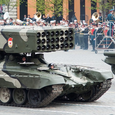 TOS-1 - Heavy Flame Thrower System. Dress rehearsal of Military Parade on 65th anniversary of Victory in Great Patriotic War on May 6, 2010 on Red Square in Moscow, Russia Stock Photo - 6961732