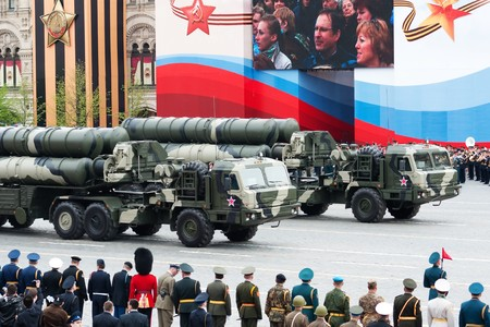 fascism: S-400 Triumf. Dress rehearsal of Military Parade on 65th anniversary of Victory in Great Patriotic War on May 6, 2010 on Red Square in Moscow, Russia