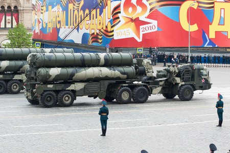 S-400 Triumf. Dress rehearsal of Military Parade on 65th anniversary of Victory in Great Patriotic War on May 6, 2010 on Red Square in Moscow, Russia Stock Photo - 6961743