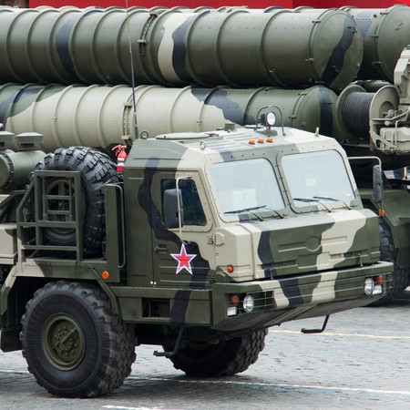S-400 Triumf. Dress rehearsal of Military Parade on 65th anniversary of Victory in Great Patriotic War on May 6, 2010 on Red Square in Moscow, Russia Stock Photo - 6961744