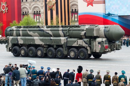 Topol-M -  intercontinental ballistic missiles. Dress rehearsal of Military Parade on 65th anniversary of Victory in Great Patriotic War on May 6, 2010 on Red Square in Moscow, Russia