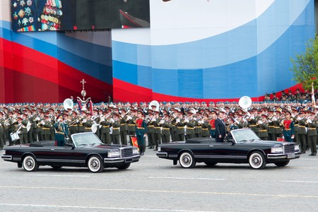 MOSCOW - 6 May 2010: Dress rehearsal of Military Parade on 65th anniversary of Victory in Great Patriotic War on May 6, 2010 on Red Square in Moscow, Russia