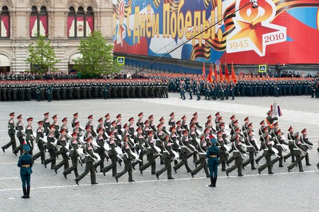 battalion: MOSCOW - 6 May 2010: Dress rehearsal of Military Parade on 65th anniversary of Victory in Great Patriotic War on May 6, 2010 on Red Square in Moscow, Russia Editorial
