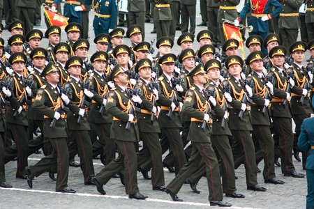 MOSCOW - 6 May 2010: Azerbaijan.  Dress rehearsal of Military Parade on 65th anniversary of Victory in Great Patriotic War on May 6, 2010 on Red Square in Moscow, Russia