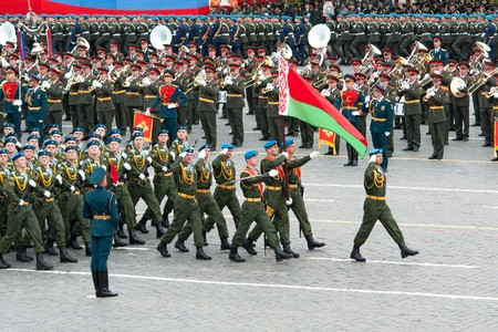 battalion: MOSCOW - 6 May 2010: Belarus. Dress rehearsal of Military Parade on 65th anniversary of Victory in Great Patriotic War on May 6, 2010 on Red Square in Moscow, Russia