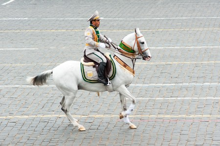 MOSCOW - 6 May 2010: Turkmenistan. Dress rehearsal of Military Parade on 65th anniversary of Victory in Great Patriotic War on May 6, 2010 on Red Square in Moscow, Russia
