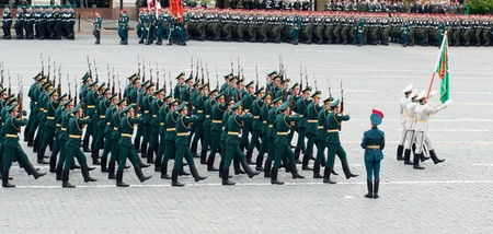 fascism: MOSCOW - 6 May 2010: Turkmenistan. Dress rehearsal of Military Parade on 65th anniversary of Victory in Great Patriotic War on May 6, 2010 on Red Square in Moscow, Russia Editorial