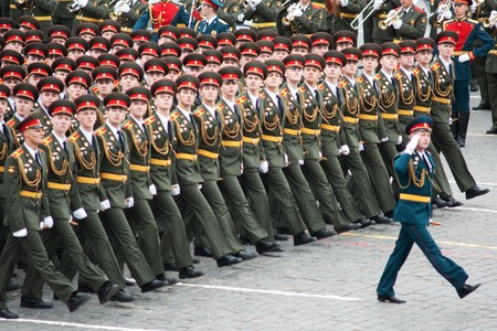 a rehearsal: MOSCOW - 6 May 2010: Dress rehearsal of Military Parade on 65th anniversary of Victory in Great Patriotic War on May 6, 2010 on Red Square in Moscow, Russia Editorial