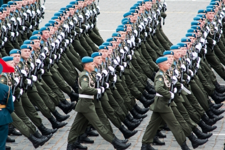 parade: MOSCOW - 6 May 2010: Dress rehearsal of Military Parade on 65th anniversary of Victory in Great Patriotic War on May 6, 2010 on Red Square in Moscow, Russia Editorial