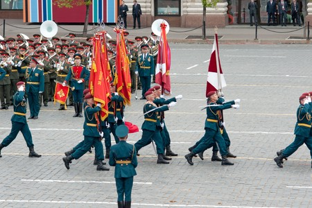 fascism: MOSCOW - 6 May 2010: Dress rehearsal of Military Parade on 65th anniversary of Victory in Great Patriotic War on May 6, 2010 on Red Square in Moscow, Russia Editorial