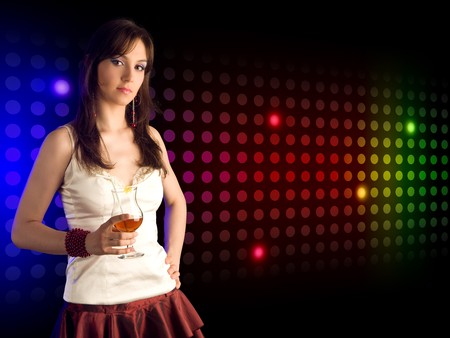 beautiful girl with  cocktail photo