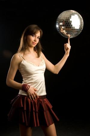 girl with disco ball photo