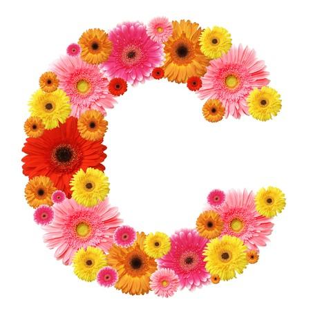 C, flower alphabet isolated on white Stock Photo - 7225861