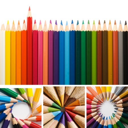multi colors: color pencils, collage
