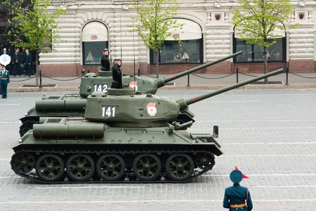 fascism: MOSCOW - 6 May 2010: Tank T34, Dress rehearsal of Military Parade on 65th anniversary of Victory in Great Patriotic War on May 6, 2010 on Red Square in Moscow, Russia Editorial