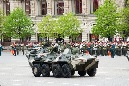 fascism: MOSCOW - 6 May 2010: BTR-80. Dress rehearsal of Military Parade on 65th anniversary of Victory in Great Patriotic War on May 6, 2010 on Red Square in Moscow, Russia