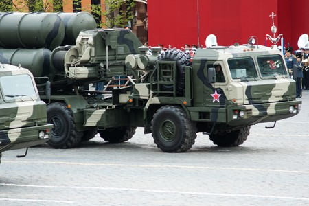 MOSCOW - 6 May 2010: S-400 Triumf. Dress rehearsal of Military Parade on 65th anniversary of Victory in Great Patriotic War on May 6, 2010 on Red Square in Moscow, Russia Stock Photo - 7193469