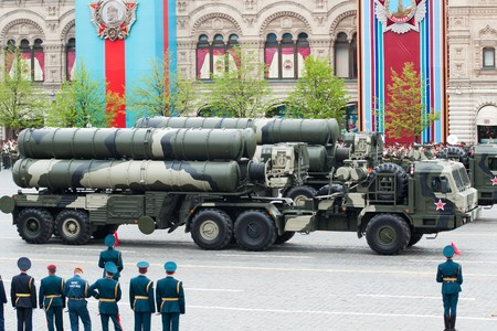 MOSCOW - 6 May 2010: S-400 Triumf. Dress rehearsal of Military Parade on 65th anniversary of Victory in Great Patriotic War on May 6, 2010 on Red Square in Moscow, Russia Stock Photo - 7193470