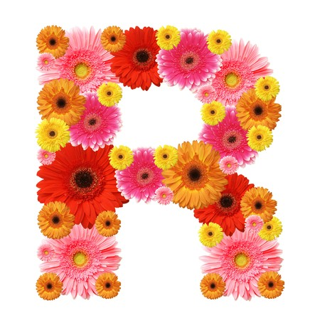 r image: R, flor alfabeto aislado en blanco