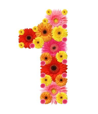 number one: 1, de alfabeto de flor aislado en blanco