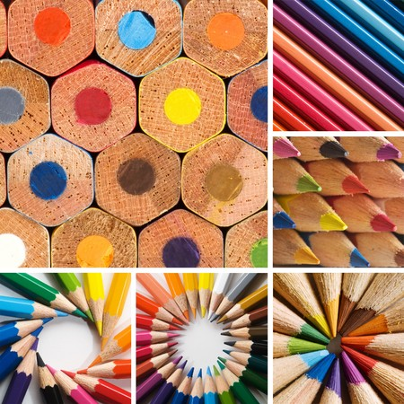 up close image: color pencils, collage