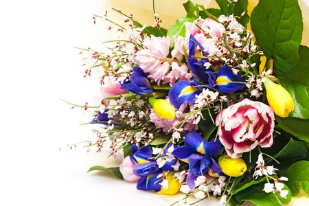 beautiful bouquet of flowers isolated on white photo