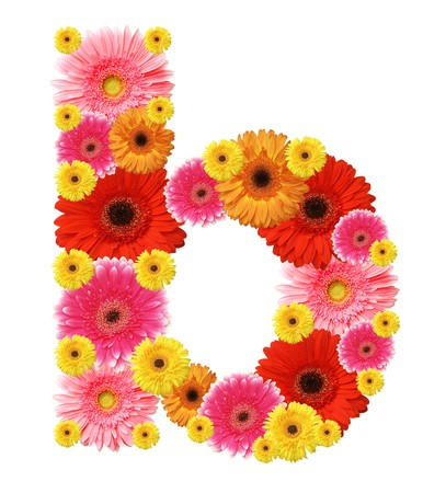 b: b, flower alphabet Stock Photo