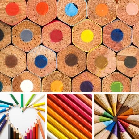 art palette: color pencils, collage