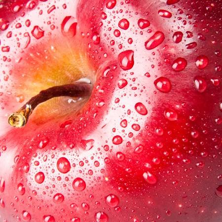 macros: red apple, macro