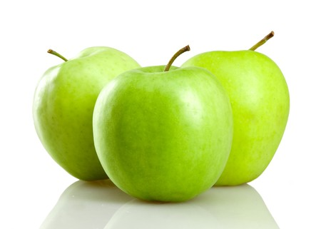 green apples isolated on white photo