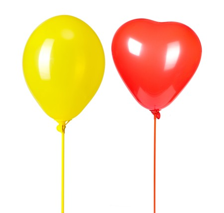 two balloons isolated on white photo