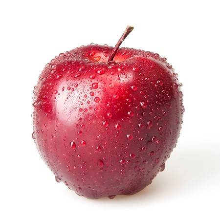 waterdrop: wet red apple isolated on white