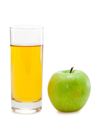 green apple with juice Stock Photo