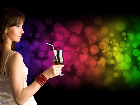 beautiful girl with cocktail Stock Photo - 7566977