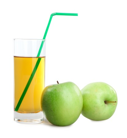 green apples and juice on white