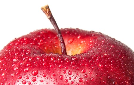 wet red apple isolated on white Stock Photo - 7829251
