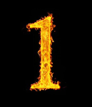 arabic number: 1 (one), fire figure