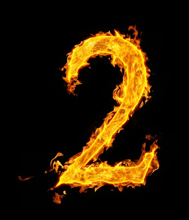 alphabet number: 2 (two), fire figure Stock Photo