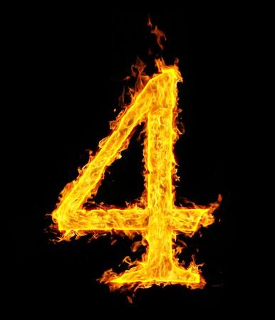 Ordinal: 4 (vier), Feuer Abbildung Lizenzfreie Bilder