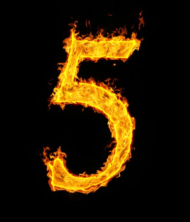 arabic number: 5 (five), fire figure