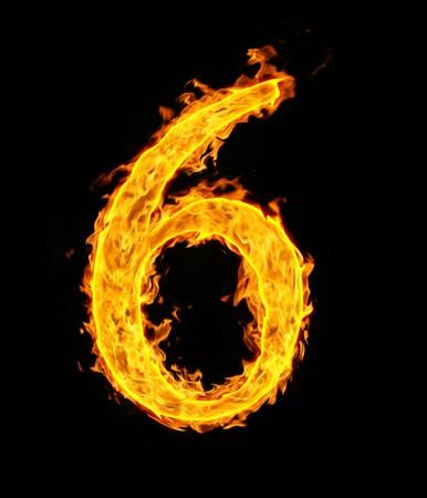 Ordinal: 6 (sechs), Feuer Abbildung  Lizenzfreie Bilder