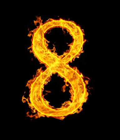 arabic number: 8 (eight), fire figure