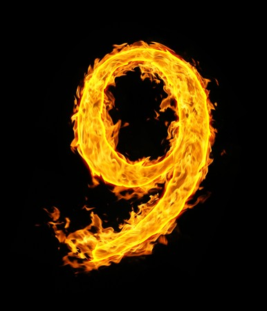 arabic number: 9 (nine), fire figure