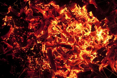 ashes: red-hot coals